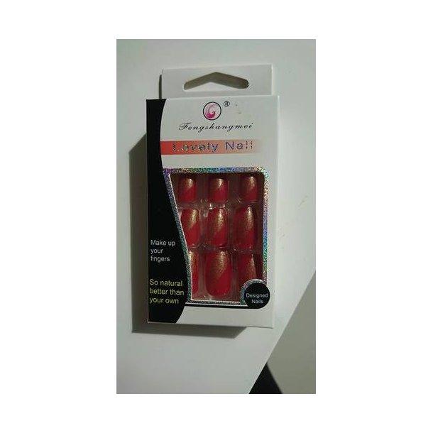 Kunstige negle - Rød med guldstøv
